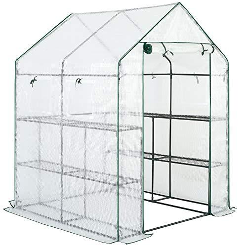 Gardebruk Foliengewächshaus 2m² 8 Ablagen aufrollbare Tür 4 Fenster Treibhaus Tomatenhaus Pflanzenhaus 195x143x143 cm