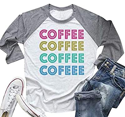 UNIQUEONE Coffee T Shirts for Women Letters Print Shirt with Funny Sayings Casual Raglan 3/4 Sleeve Tee T Shirt