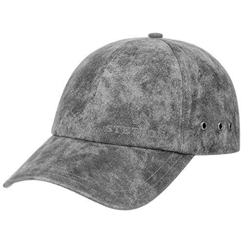 Stetson Rawlins Pigskin Basecap (Vintage-Look) Herren/Damen - Verstellbar (Strapback ca. 55-61 cm) - Baseballcap aus Leder (Schirmlänge 7 cm) - Mit Baumwollfutter - Sommer/Winter grau One Size