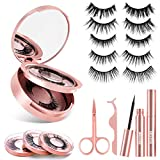 Magnetic Eyeliner and Lashes Kit, 2 Tubes of Update Flash Drying Magnetic Eyeliner, 5 Pairs Softer Reusable Magnetic Eyelashes, Portable Mirror, Tweezers and Scissor, Natural Look and Easy to Use