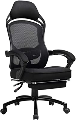 MMLI-Chairs High Back Computer Gaming Office Chair, Well Padded Footrest and Lumbar Cushion