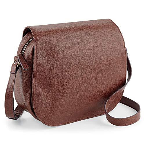 noTrash2003 Handtasche oder Umhängetasche Damentasche Satteltasche im Vintage Look Saddle Bag Retrolook Shoulder Bag Schwarz oder Braun 25 x 20 x 9 cm (Tan)