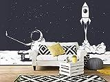 Oedim Fotomural Infantil Vinilo para Pared Nave y Astronauta | Mural | Fotomural Infantil Vinilo Decorativo | 200 x 150 cm | Decoración comedores, Salones, Habitaciones