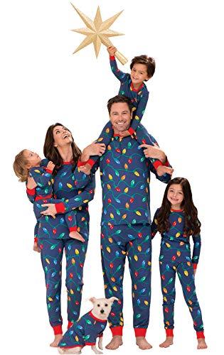 PajamaGram Matching Christmas PJs for Family, Christmas Lights, Womens L / 12-14