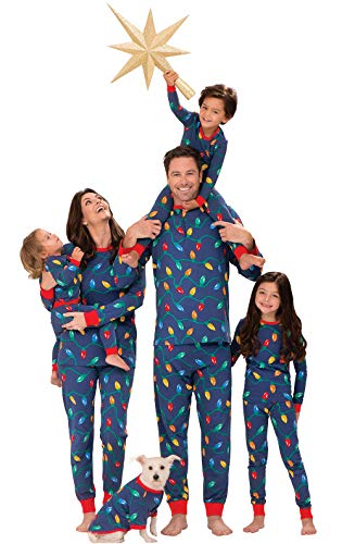PajamaGram Matching Christmas PJs for Family, Christmas Lights, Womens M / 8-10 Blue