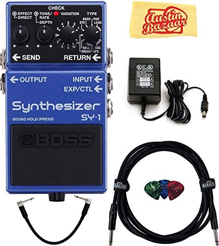 Boss SY 1 Synthesizer Guitar Pedal Bundle with Power Supply Instrument Cable Patch Cable Picks product image