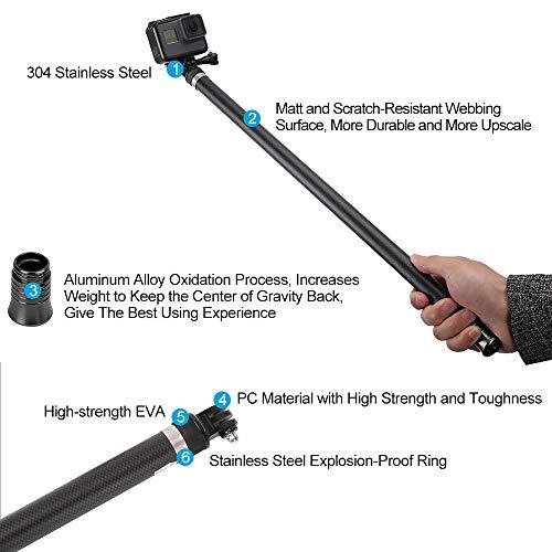 TELESIN Ultra Long Selfie Stick for GoPro Hero 7 Hero 6 Hero 5 Black (2018), Hero 4 3+ Session, DJI OSMO ACTION Camera, Extendable at 3 Lengths 22