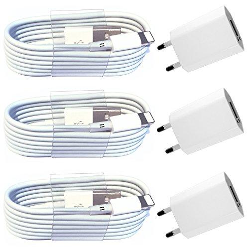i! 6in1 3X Netzteil 5V 1A + 3X 1m USB Ladekabel Datenkabel Ladegerät Set kompatibel mit iPhone 11 Pro Max XS Max XR X 10 8 Plus 7 Plus 6S Plus 6 Plus 5S 5C 5 SE iPad iPod Standard weiß