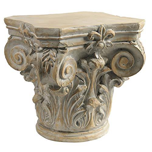 DD&QG Pilier Corinthien Piédestal Stand De Plante,Antiquité Handmade Sculpture Grecque De Rome,Rétro Table D'appoint Pilier Romain pour Intérieur Extérieur-Grand 46x46x47cm(18x18x19inch)