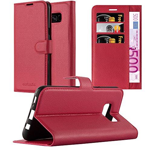 Cadorabo Hülle für Samsung Galaxy S8 in Karmin ROT - Handyhülle mit Magnetverschluss, Standfunktion und Kartenfach - Case Cover Schutzhülle Etui Tasche Book Klapp Style