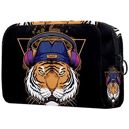 KAMEARI Bolsa de cosméticos Tiger Auriculares grandes cosméticos Organizador de bolsas de viaje multifuncionales