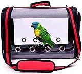 IDAS Jaula de Viaje para Pájaros,Portador de Viaje para Pájaros Transparente Ligero,Jaula de Viaje para Loros Transparente de PVC Bolsa de Pájaros para Mascotas Transpirable (Red)