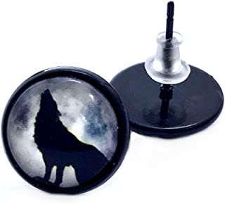 Howl at the Moon Black Wolf Stud Earrings