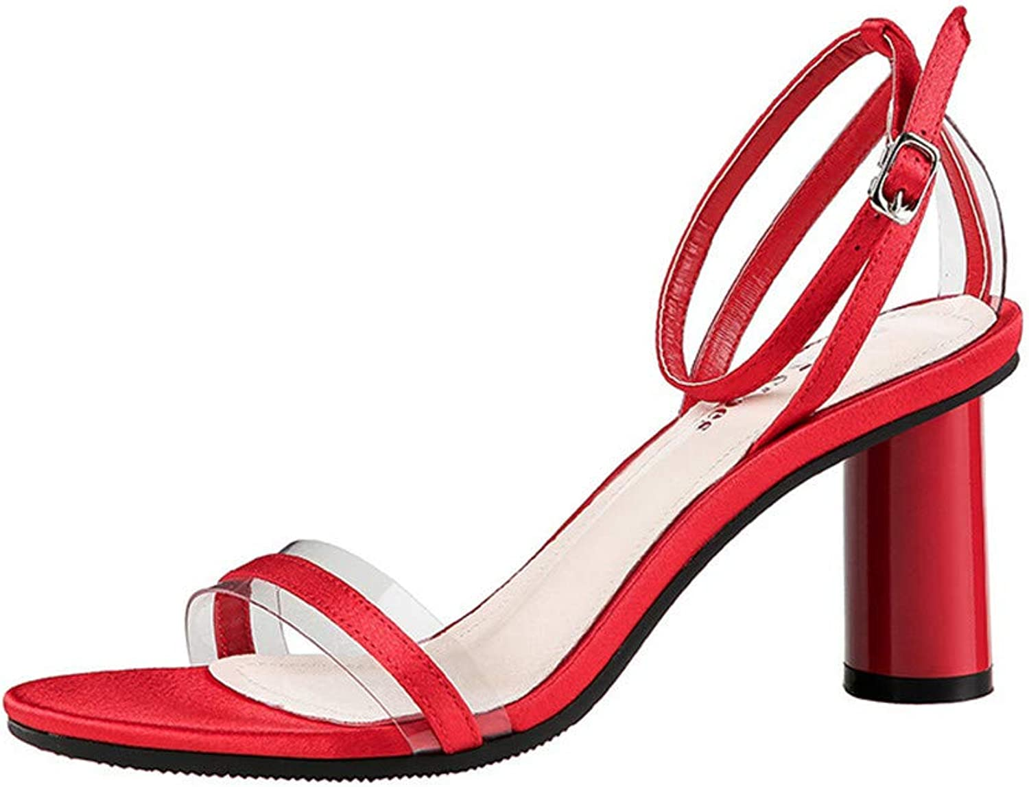 Women's Heeled Sandals Ankle Strap High Heels 7.5CM Open Toe Mid Heel Sandals Bridal Party shoes