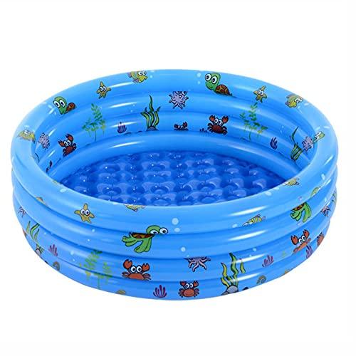 FHCSAO aufblasbarer Kinderpool,Familienpool für den Außenbereich,Wasserbabypool, 4 Ringe Kreise aufblasbarer Pool für Sommerwasserparty,Blue-150cmx40cm
