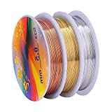Jewelry Beading Wire, 3 Rolls 24 Gauge Jewelry Wire Tarnish Resistant Craft Copper Wires for Jewelry Making Supplies and DIY Craft