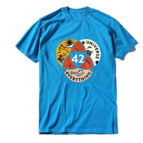 T-shirt unisex in cotone The Answer to Life The Universe and Everything da uomo t-shirt morbida Blu XL