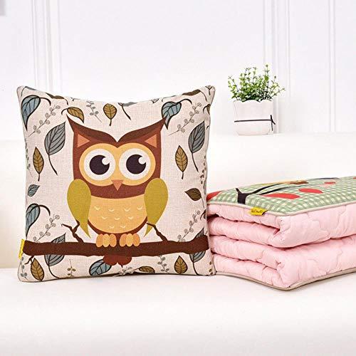 THWYJ Dibujos Animados Animal Algodón Impresión Multifunción Almohada Edredón Coche Oficina Nylon Impresión, Patrónl, 40X40 Abierto 110X150