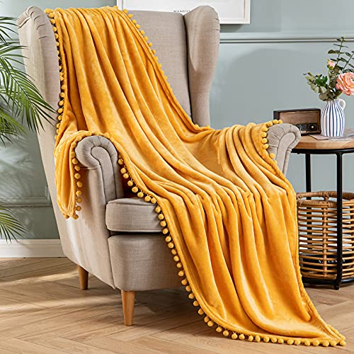 MIULEE Fleece Throw Blanket with Pompom Tassel Soft Flannel Cozy Mustard Yellow Bed Blanket Fuzzy Plush Warm Farmhouse Boho Decor for Couch Sofa Bed Throw Size 50'x60'