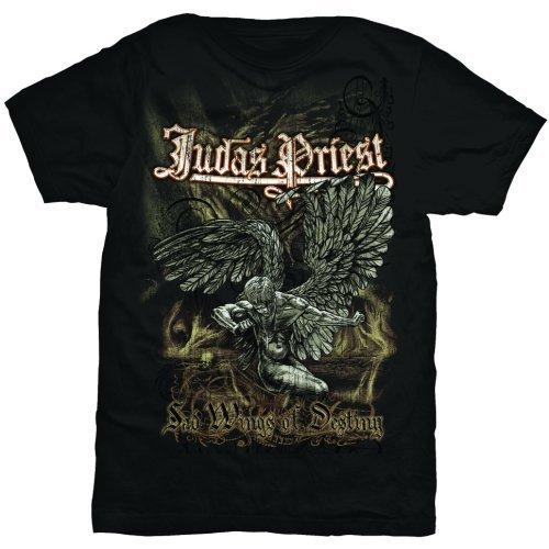 Judas Priest Sad Wings Camiseta Manga Corta, Negro, Small para Hombre