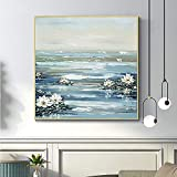 Living Equipment Oil Painting On Canvas,Abstract Lotus On River Art Living Room Sofa Background Adornment Hand Painted Oil Painting Knife Palette Canvas Painting Wall Decor For Home Hotel Restauran