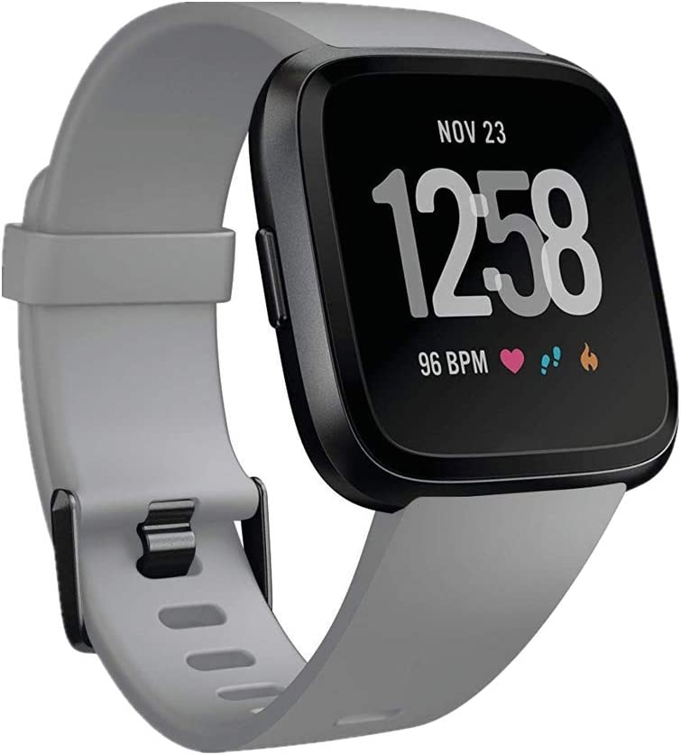 GinCoband Fitbit Versa Bands Replacement for Fitbit Versa/Versa Lite/Versa SE No Tracker 10 Color Large Small Women (Gray, Small)