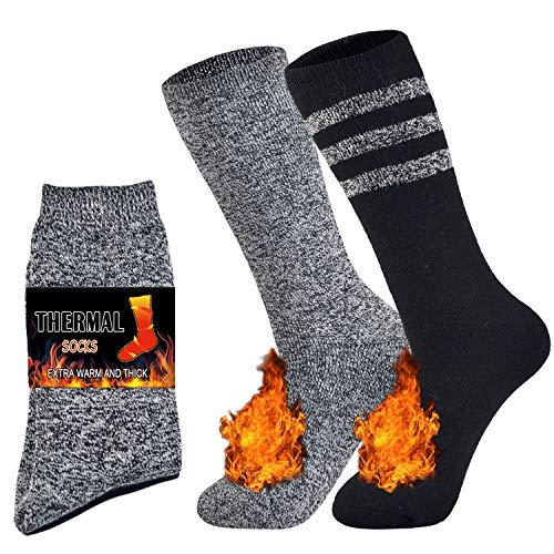 Jormatt 2 Pairs Mens Thick Thermal Socks Women Soft Insulated Heated Boot...