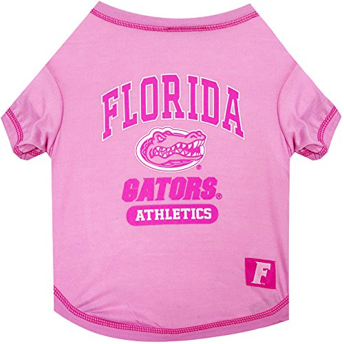 Pets First NCAA Florida Gators Pet Pink T-Shirt, Small. - Dog Pink Outfit.