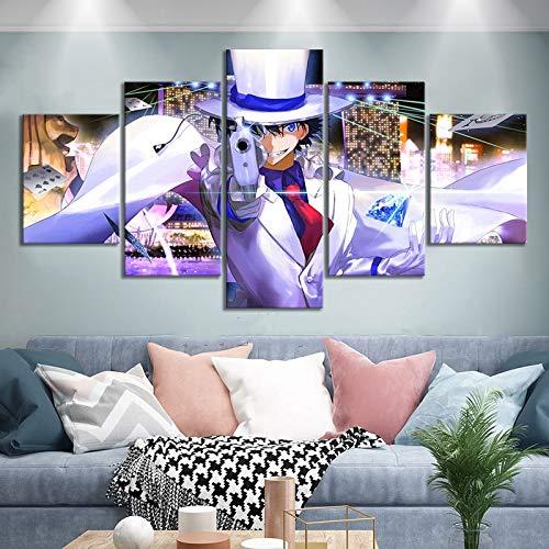 Lienzo Hd Impresiones Imágenes Arte de la pared 5 Piezas/piezas Detective Conan Película Pintura Decoración del hogar Cartel modular Sala de estar(NO Frame size 2)