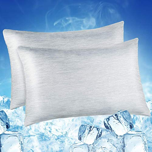 LUXEAR Pillowcase, 2 Pack Cooling Pillowcases with Double-side Design [Cooling & Cotton Fiber], Anti-Static, Skin-Friendly, Breathable & Machine...