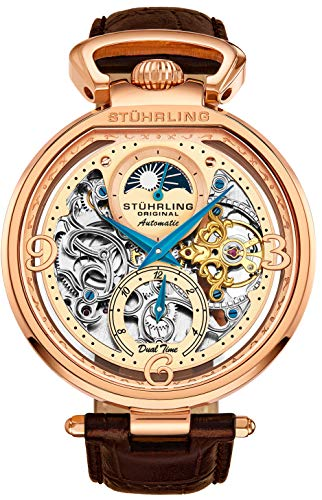 Stührling Original - Reloj de esqueleto para hombre con esfera automática con correa de piel de becerro y hora dual, AM/PM Sun Moon