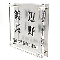 ガラス表札 ステンレス板付き 150x150x10mm (二世帯用2)
