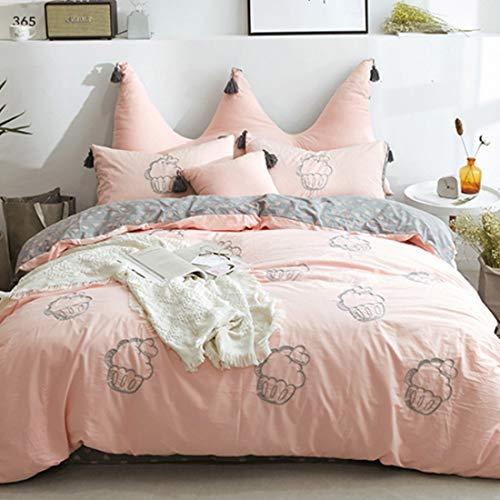 Teyun. Gewaschener Baumwolle Stickerei Baumwollbettlaken, Farbe Multiple Choice, Grün, Gelb (Color : Orange, Size : Standard)