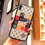 RUNEEE Coloreado Rombo Geometría Cajas del teléfono de iPhone 11 Pro XS MAX X XR 6 7 8 Plus de Silicona Suave Cubierta de la Flor del Brillo (Color : Style 32, Size : For iPhone XS MAX)