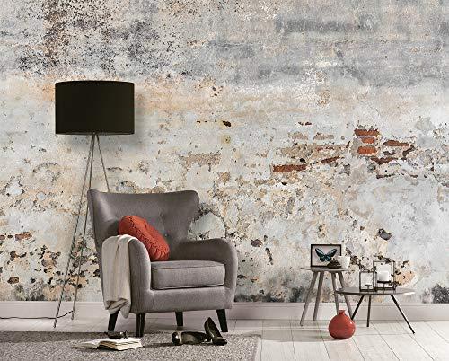 WALL-ART abwischbare Rustikale 3D Designer Steintapete XXL Beton Fototapete Grau Wohnzimmer Zementstein Tapete 3,50m x 2,55m