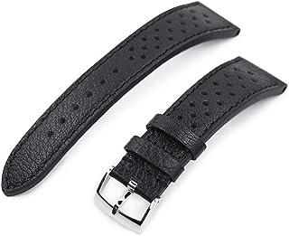Cinturino orologio in pelle con cinturino 20mm o 22mm Cinturino orologio MiLTAT Rally Racing, nero