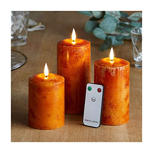 3 Orange Wax Flameless LED Battery Operated Pillar Candles with Remote   Amanda Wallen