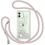 TUUT Funda Glitter Liquida con Cuerda para iPhone 12 Mini 5.4'', Glitter Cristal Suave Silicona TPU Bumper Protector Carcasa, Brillante Arena Movediza con Colgante Ajustable Cordón Case -Oro Rosa