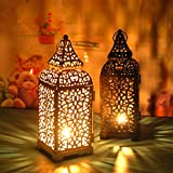 Uonlytech vintage candelabro lampada antivento in ferro battuto lampada antivento portatil...