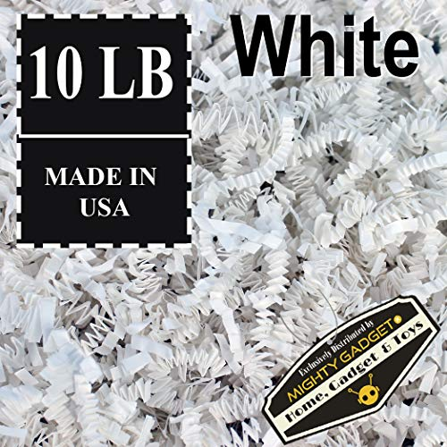 Mighty Gadget Brand 10 LB Value Pack Crinkle Cut Paper Shred Filler for Packing and Filling Gift Baskets, Gift Boxes Natural Craft Bedding in White (10 LB)