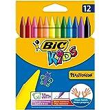 Bic Kids Plastidecor Pastelli Colorati Confezione da 12 Pastelli Colori Assortiti, multicolore