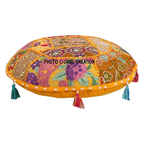 Housse de coussin indienne ottoman décorative pour salon, tabouret, housse de chaise bohème faite à la main en coton traditionnel rond de 53,3 cm avec housse de coussin bohème hippie mandala