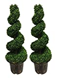 AMERIQUE Pair Gorgeous 6 Feet Wide And Dense Boxwood Spiral Topiary Artificial Tree Silk Plant with UV Protection Indoor And Outdoor, With Decorative Pot, Feel Real Technology, Super Quality, Green, 2