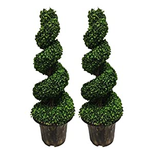 AMERIQUE Wide Pair Gorgeous 4′ Dense Boxwood Spiral Topiary Artifical Trees Silk Plants, UV Protection, with Decorative Pots, Emerald Green
