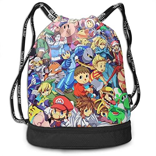 Zelda Rockman Kirby Mother Bundle Backpack Large Capacity Light Simple Portable Multi-functional Fashion Bundle Drawstring Backpack Suitable for Fitness Travel Men Women