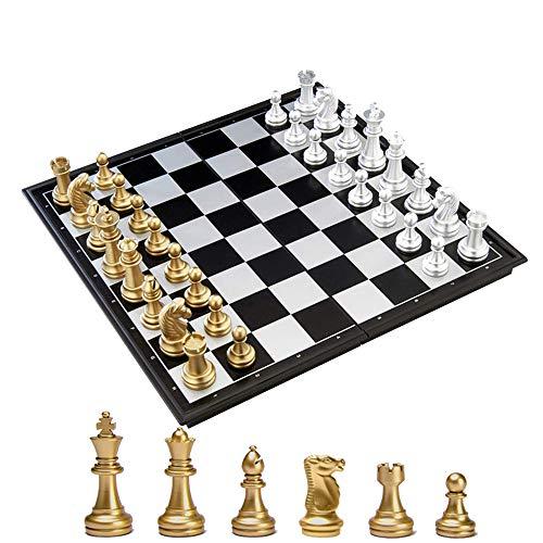 KOKOSUN チェスセット 国際チェス マグネット式 折りたたみ盤 チェスボード 金と銀の駒 収納便利 (L)
