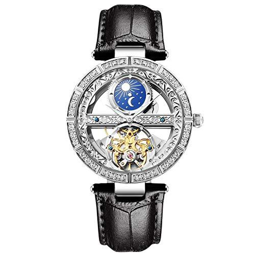 RORIOS Damen Uhren Automatikuhr Mechanische Uhren Leuchtend Uhr mit Leder Armband Mode wasserdichte Damenuhren