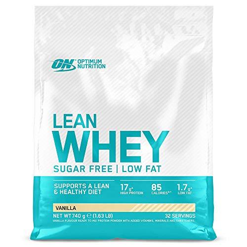 Optimum Nutrition Lean Whey - Proteínas en polvo sin azúcar con vitaminas y minerales, bajo en grasas, Vainilla, 32 porciones, 740 g