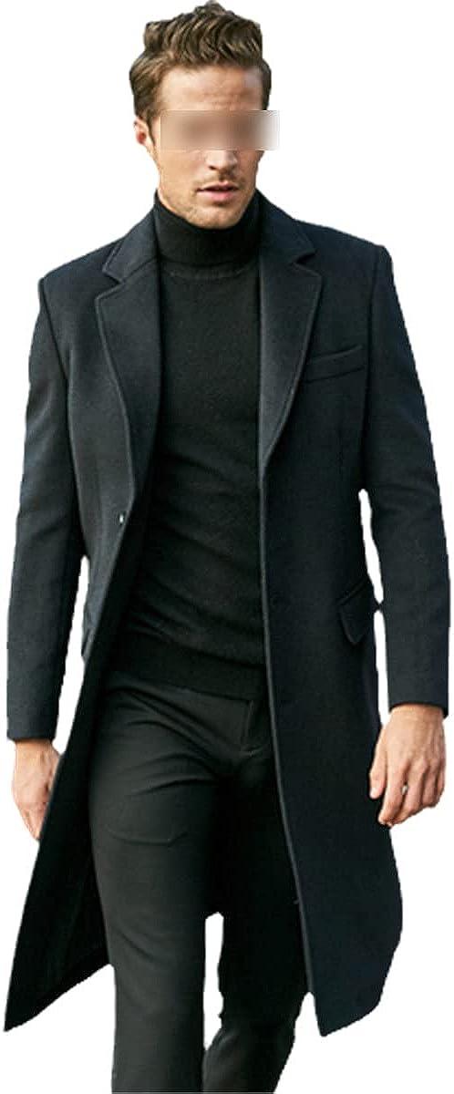Over The Knee Long Men's Fashion Slim Wool Coat Luxury Business Gentleman Coat Men