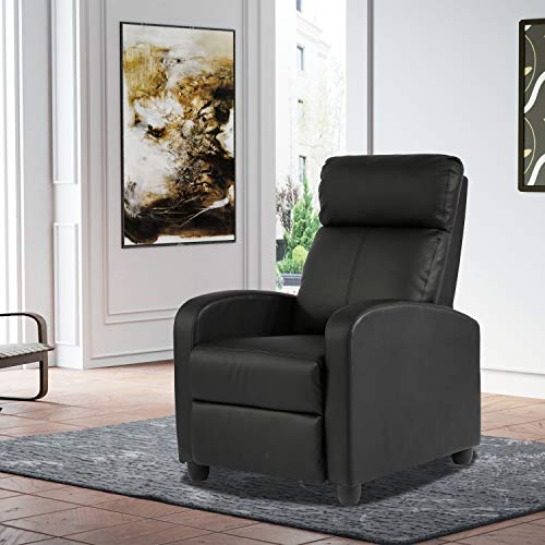 Home Theater Seating Recliner Chair Sofas for Living Room Bedroom Furniture Recliners PU Leather Padded Seat Recliner Sofa Chair Modern Club Reading Chair Armchair Ergonomic Reclining Chair Black
